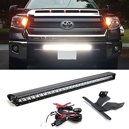 Tundra light bar amazon ijdmtoy 30 150w high power cree led light bar with lower bumper insert mounting brackets and onoff switch wiring kit for 2014 up toyota tundra no cutting aloadofball Images