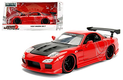 Mazda Car 7 Red Rx - NEW 1/24 W/B JADA METALS - JDM TUNERS COLLECTION - Gloss Red 1993 Mazda RX-7 Diecast Model Car By Jada Toys
