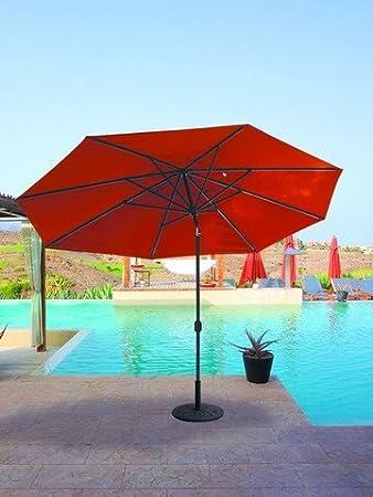Galtech 11 X 8 Ft. Aluminum Oval Sunbrella Patio Umbrella, Black Pole