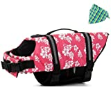Outward Dog Life Jacket for Dog Safety Vest Dog Jacket Dog Preservers Saver + Dog Bandana, Pink Flower, XL Review
