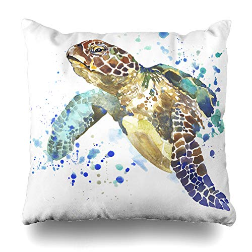 Ahawoso Throw Pillow Cover Art Watercolor Ocean Sea Turtle Graphics Dive Zoo Tortoise Shell Ecology Preserve Home Decor Cushion Case Square Size 16