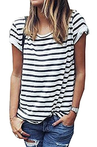 Hoyod Womens Round Neck Black and White Striped Short Sleeve Shirt Top