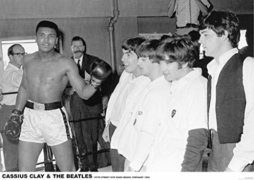 Beatles w/ Cassius Clay John Lennon Paul McCartney George Harrison Muhammad Ali23.5x33 Music Concert Rare Very Limited Poster Print Only One on Amazon (Fifth Beatle George Best)
