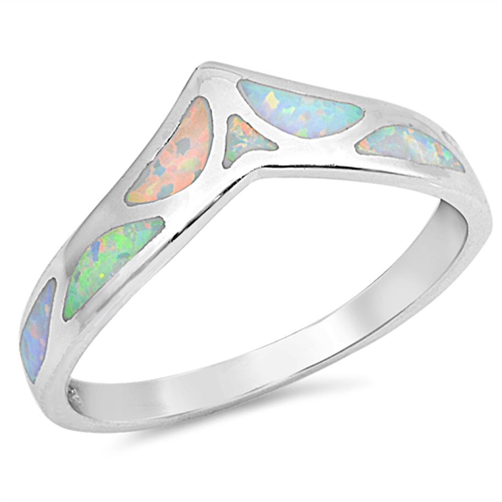 White Simulated Opal Mosaic Chevron Thumb Ring New 925 Sterling Silver Band Size 9