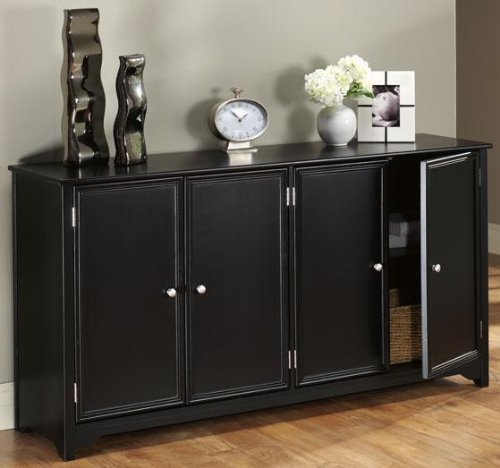 Oxford 4 door Console, 4-DOOR, BLACK (Black Console Table With Doors)