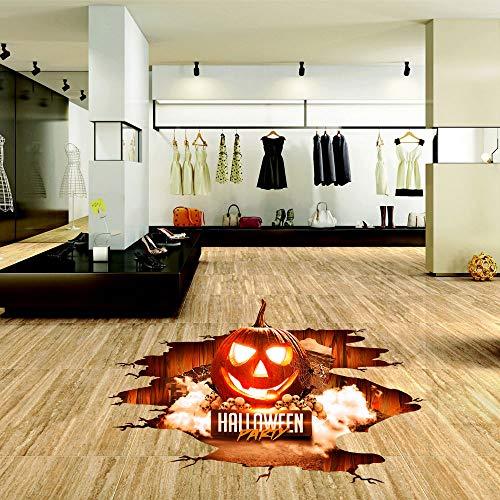 Auwer Happy Halloween 3D Pumpkins Floor/Wall Sticker Removable Mural Decals Vinyl Art Living Room Decors -