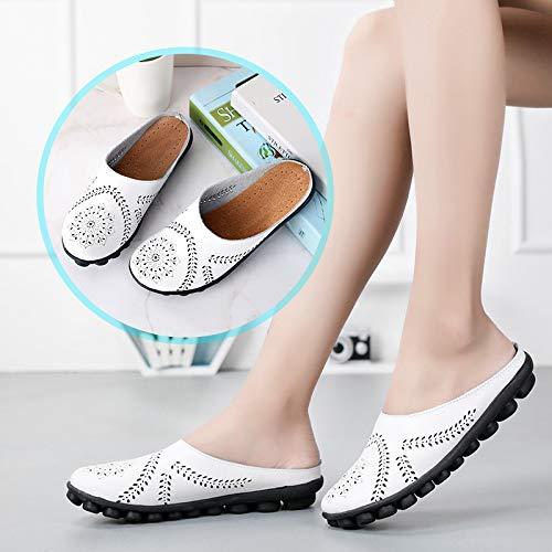 Gran Baja Verano Los Y Guisantes De 44 Otoño Las Casual A Zapatos Planos Cuero Zapatos YXLONG white Nuevas Ayudar Madre Zapatillas Tamaño para Mujeres De De x6Bpfnwv