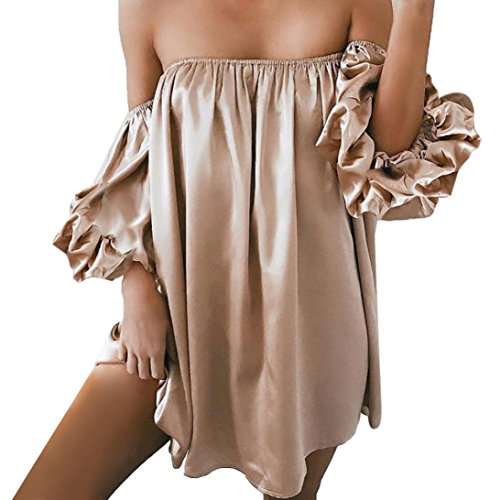 Mini Solid Gold Watch - Owill Women Sexy Off The Shoulder Solid Three Quarter Sleeve Slash Neck Mini Dress (Gold, M)