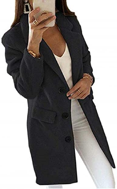 Amazon.com: Gets Womens Pea Coats Wool-Blend Mid-Long Double Breast Trench  Coat Lapel Button Up Overcoat Windbreaker Parka: Clothing