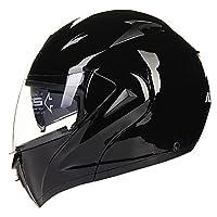 ILM 10 Colors Motorcycle Flip up Modular Helmet DOT (L, Gloss Black) by ILM