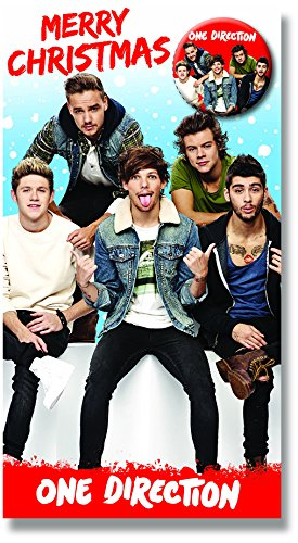 Amazon One Direction Christmas Card With 1d Group Pin Button
