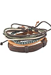 MJartoria Unisex PU Leather Hemp Cords Beaded Multi Strands Adjustable Wrap Bracelets Set of 4