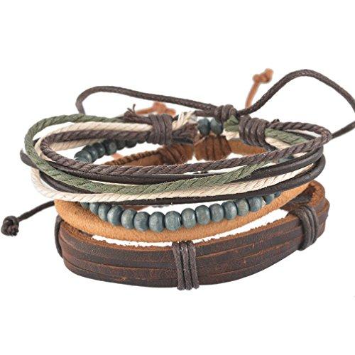 MJartoria Unisex PU Leather Hemp Cords Beaded Multi Strands Adjustable Wrap Bracelets Set of 4 (Hemp Bracelet Pack compare prices)