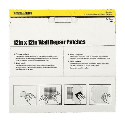 ToolPro 12 x 12'' Wall Repair Patches, 10 pack of patches by TOOLPRO