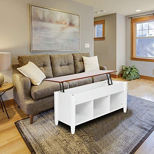 Bonnlo Lift Top Coffee Table with Storage Shelf w/Hidden Compartment and three Lower Open Shelves for Living Room,White