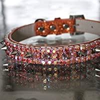 Dog Collars, Fire Opal Orange Rhinestone and Spiked Collar - Smashing Pumpkins Inspired Dog Jewelry Collar Necklace, Sizes M - 3 XL, RockStar Pet Collars TM