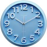"Plumeet Large Number Wall Clock, 13"" Silent Non-Ticking Quartz Decorative Kids Wall Clock, Nice Blue Quiet Wall Clocks for Kids/Girls/Boy Living Room, Battery Operated"