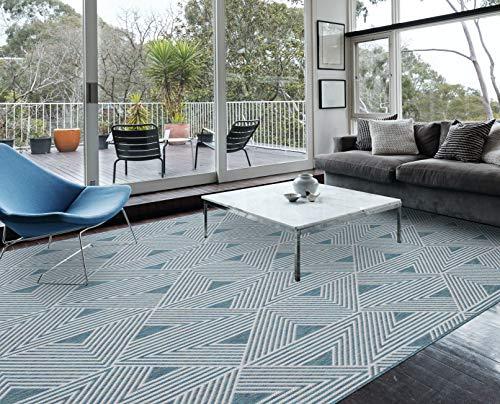 RUGBUGGERY Indoor Outdoor Geometric Area Rug (6.5'x9.5′, Ocean Blue)