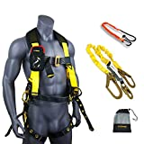 KwikSafety (Charlotte, NC) TYPHOON COMBO | 3D Full Body Tongue Buckle w/Back Support Safety Harness, Bolt Pouch, 6' Lanyard, Tool Strap, ANSI PPE Fall Protection Equipment Construction Bucket