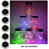 6 Pack Mason Jar Lights, 20 LED Solar Multi-Colored Fairy String Lights Lids Insert for Garden Deck Patio Party Wedding Christmas Decorative Lighting Fit for Regular Mouth Jars
