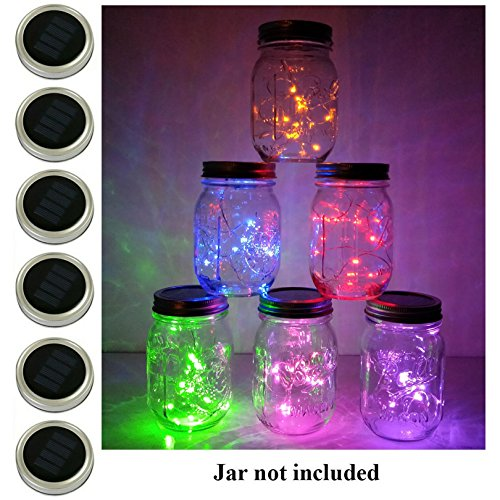 6 Pack Mason Jar Lights, 10 LED Solar Multi-Colored Fairy String Lights Lids Insert for Garden Deck Patio Party Wedding Decorative Lighting Fit for Regular Mouth Jars