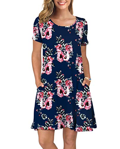 KORSIS Women's Summer Floral Dresses Short Sleeve Tunic T Shirt Swing Dresses Flower Navy Blue XS