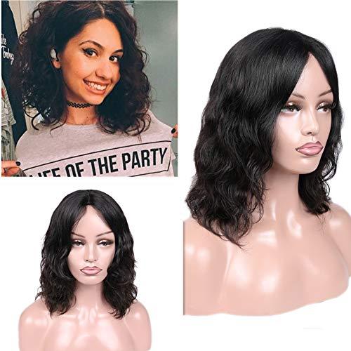 WIGER Human Hair Wigs Natural Wave Wig Short Black Wavy Brazilian Virgin Human Hair Wigs for Black Women African American 12 Inches