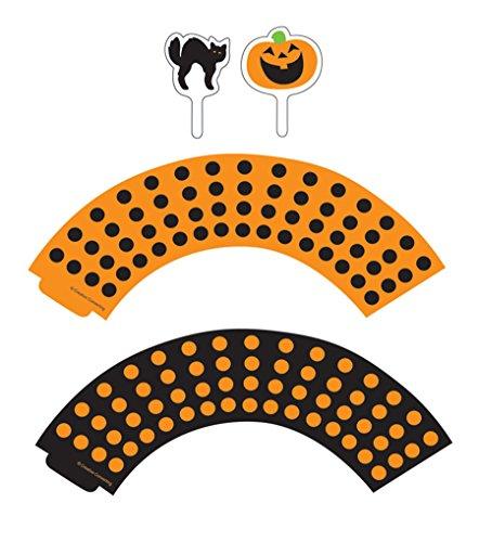 CLEARANCE - FREE STANDARD SHIPPING - Halloween Black Cats & Pumpkins Cupcake KIT - 12 Cupcake Wrappers & 12 Picks & Bonus Card - We Ship Within 1 Business (Mail Run On Halloween)