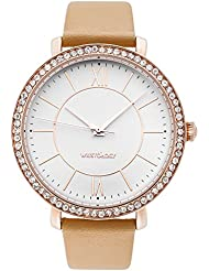 WRISTOLOGY Bridget Womens Super Chunky Rose Gold Sand Tan Boyfriend Metal Watch