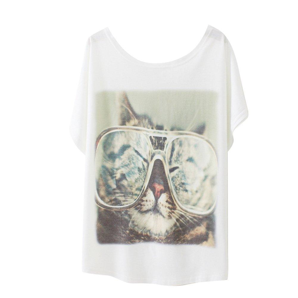 Haogo Women's Glasses Cat Print Short Sleeve T-shirt Tops White