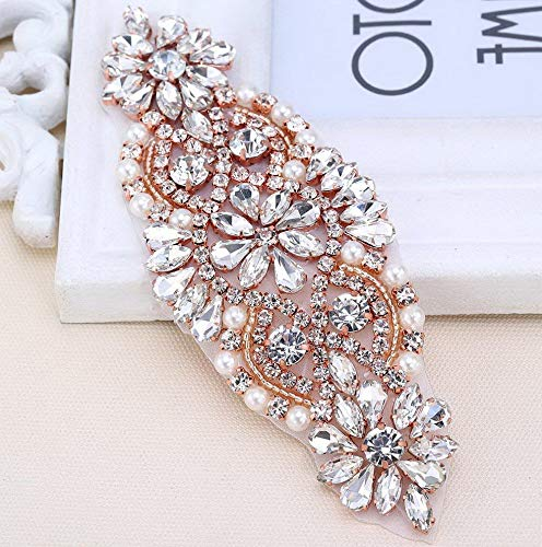 Mikash Crystal Applique Small Size with Rhinestones in Rose Gold for Wedding Dress Tion or Headpieces Garters | 5.4'' 2.1