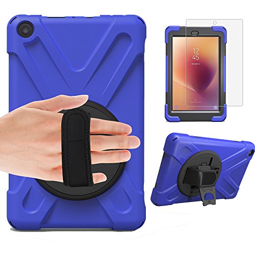 Gzerma for Fire HD 8 Case 7th and 8th Generation with Screen Protector, Hybrid Childproof Rugged Shockproof 360 Heavy Duty Protection Cover, Kickstand, Hand Strap Holder for Amazon Kindle Fire HD 8 Tablet 2018 2017, Blue 2