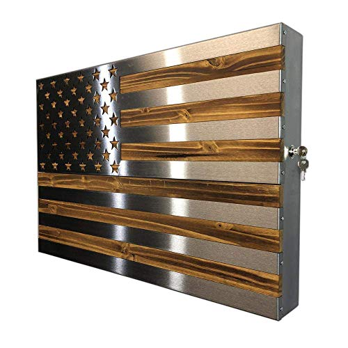 Metal Art of Wisconsin The Strong Box! All Steel, Locking Freedom Cabinet Topped with a Burnt Accent Polished US Flag (2 Foot)