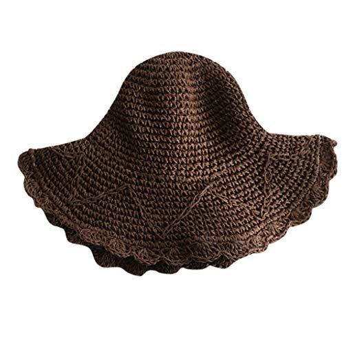 HYIRI Shade Ladies Women Casual Wide Brimmed Straw Beach Hat Parent-Child Outing Hat Coffee (Boston Accent Boots)