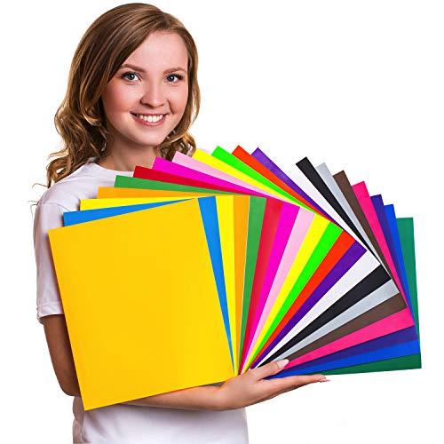 HTV Heat Transfer Vinyl Bundle 12x10 - 20 Multi-Color Sheets
