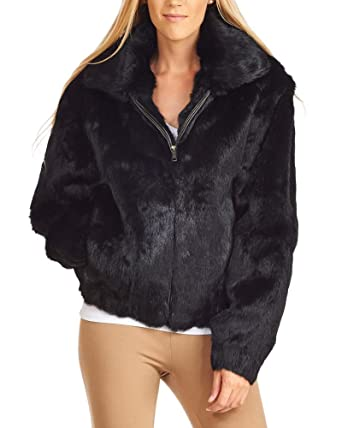 e3ef4ddc8 frr Real Rabbit Fur Bomber Jacket with Hood at Amazon Women's Coats Shop