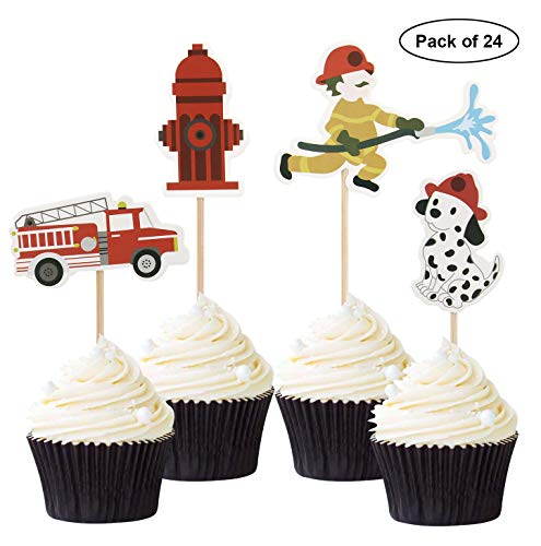 24PCS Fireman FireFighter Cupcake Toppers Themed Baby Shower Party Decor Supplies -