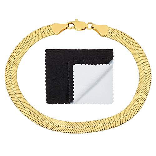 - The Bling Factory 6.8mm 14k Yellow Gold Plated Flat Herringbone Link Chain Bracelet, 8