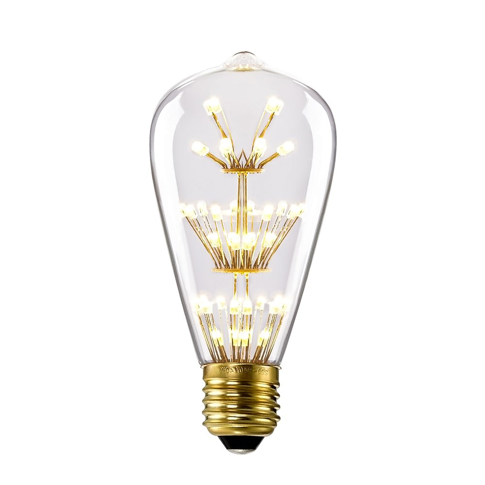 Kiven ST64 Vintage Edison Design A19 E26 2200K Warm White Retro Energy Save Beautiful and Romantic Starry Decorative 3W LED Light Bulbs
