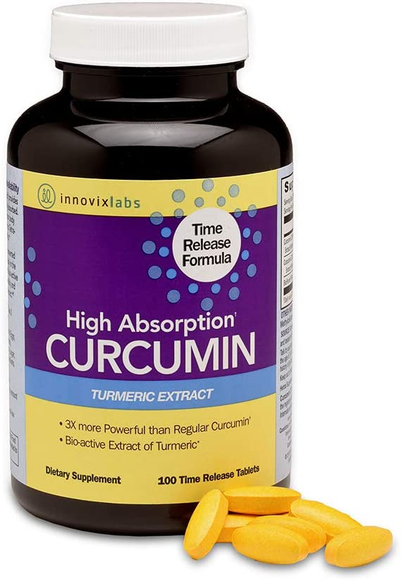 InnovixLabs Curcumin Turmeric with C3 Reduct, C3 Complex and BioPerine Black Pepper for Higher Absorption. 95% Tetra-Hydro-Curcumin - More Powerful Than Curcumin Extract, 100 Time Release Tablets