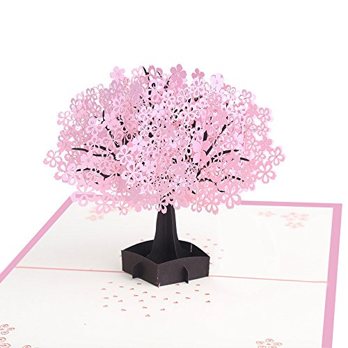 FIged Stationary Supplies, Cherry Blossoms Tree Handmade Greeting Card Bouquet Pop Up Card Flower Romance Anniversary Birthday Baby Wedding