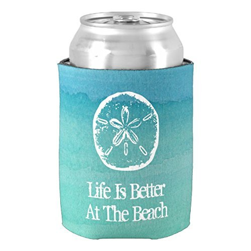 Life is Better at the Beach Sand Dollar Can Cooler Insulated Neoprene Can Koozie Beer Holders Drink Insulator Wedding Baby Shower Bridal Shower Party Decor PeteGray
