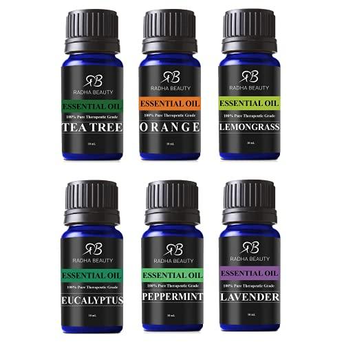 Radha Beauty Aromatherapy Top 6 Essential Oils (Lavender, Tea Tree, Eucalyptus, Lemongrass, Orange, Peppermint) – 100% Natural Basic Gift Set for Aromatherapy, Diffusers, Soap, DIY Skincare