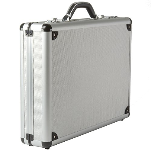 Alpine Swiss Aluminum Attaché Case Padded Laptop Briefcase Combo Lock Hard Sided Silver