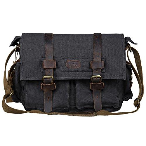 (S-ZONE Vintage Canvas Genuine Leather Trim DSLR SLR Camera Shoulder Messenger Bag (Black))