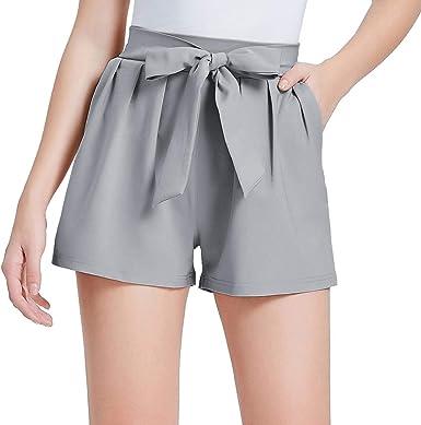 Grace Karin Pantalones Cortos Verano Para Mujer Pantalones Cintura Alta Elegantes Longitud Mini Con Lazo Decorado Mujer Ropa