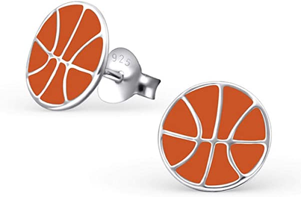 So Chic Joyas© pendientes niño balón baloncesto naranja plata 925