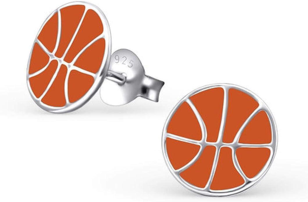 So Chic Joyas© pendientes niño balón baloncesto naranja plata 925 ...
