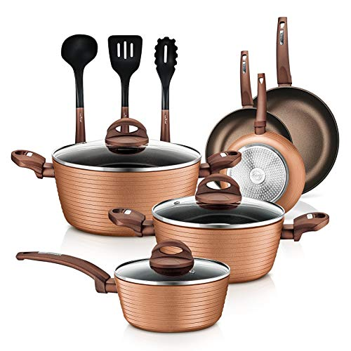 12-Piece Nonstick Kitchen Cookware Set – PTFE/PFOA/PFOS-Free Heat Resistant Lacquer Kitchen Ware Pots Pan Set Coffee…