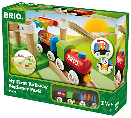 Brio My First Railway - 33727 Beginner Pack | Wooden Toy Train Set for Kids Age 18 Months and Up (Renewed)